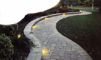 Lighted Paver Block Walkway
